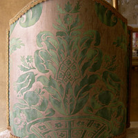 Venetian Lamp Shade in Fortuny Fabric Green & Silvery Gold Olimpia Pattern Half Lampshade - Handmade in Italy