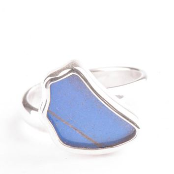 Silver butterfly ring  - Iridescent Blue Wing Shaped Morpho Didius