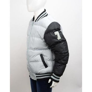 Boys Grey/Black Bubble Varsity Jackets Size 4-7