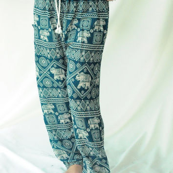 elephant harem pants/boho pants/hippie pants one size fits all strenchy pants unisex