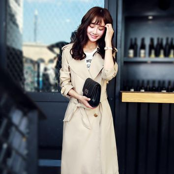 Spring Autumn Women Trench Coat 2016 New Fashion Long Outwear  Waist Slim Trench Coat With Belt Z2