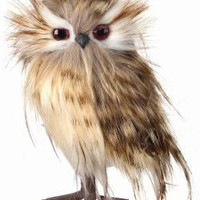 """Artificial Speckled Brown Feather Standing Owl Bird - 6"""" Tall"""