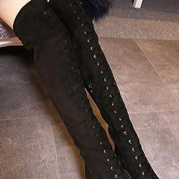 ROXY - LACE-UP OVER KNEE BOOTS