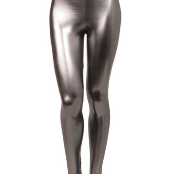 LE3NO Womens Stretchy Shiny Metallic Leggings (CLEARANCE)