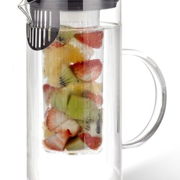 Zell Water Infusion Pitcher, Fruit Infuser removable insert, Infused Iced Tea carafe, 1L Borosilicate Glass jug with Easy Pour Lid