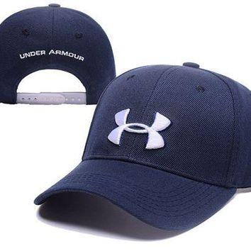PEAPDQ7 Navy Blue Under Armour Embroidered Outdoor Baseball Cap