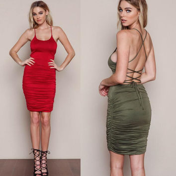 Spaghetti Strap Backless Ruched Dress