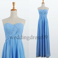 Custom Cheap Blue Long Bridesmaid Dresses 2014 Fashion Prom Dresses Formal Evening Gowns Simple Party Dress Cocktail Dress Dress Party