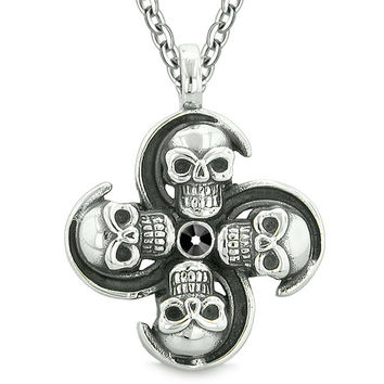 Supernatural Skull Powers Magic All Forces of Nature Amulet  Black Crystal Pendant 22 inch Necklace
