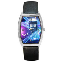 Dr Who, Tardis on Swirling Space Field (stars) on a Mens or Womens Barrel Watch with Leather Band
