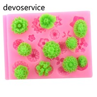 18-Cavity Silicon Flower Mold Set Fondant Gumpaste Moulds For Cake Decoration Candy Soap Gumpaste Scrapbook Embellishment Molds