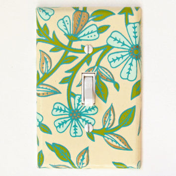 Cream White Light Switch Cover w/ Pale Blue Flowers, Green Leaves, & Shiny Gold Accents - Art Deco Master Bedroom Decor - Switchplate Cover