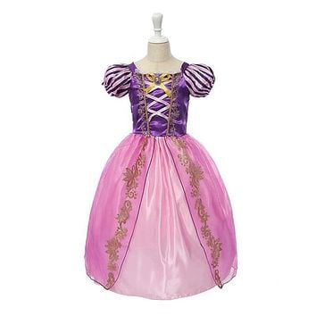 VOGUEON Girls Rapunzel Cosplay Princess Costume Girl Snow White Belle Cinderella Sleeping Beauty Birthday Halloween Party Dress