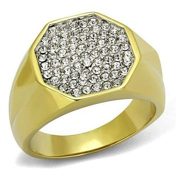 WildKlass Stainless Steel Ring Two-Tone IP Gold (Ion Plating) Men Top Grade Crystal Clear