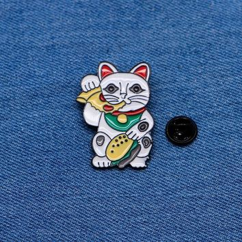 Trendy Cartoon Animals Brooches Cat Eating Pizza Enamel Pin for Boys Girls Lapel Pin Hat/bag Pins Denim Jacket Women Brooch Badge Q407 AT_94_13