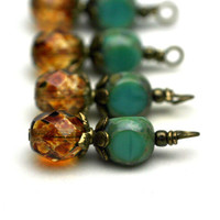 Vintage Style Czech Brown Picasso and 3 Sided Turquoise Crystal Bead Dangle Charm Drop Set - 4 Piece