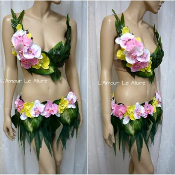 Hula Island Girl Orchid Flower Bra and Leaf Skirt