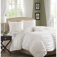 Helena Scalloped White Ruched Comforter Set