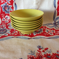 Vintage Melmac Melamine Lime Green Bowls- Dinnerware- Glamping- Camping Kitchen- Retro- Plastic Dishes