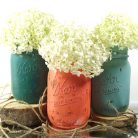 Orange and Green Vase Set - Hand Painted Mason Jars -- Rustic, Cottage Chic Home Decor