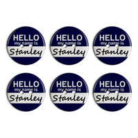 Stanley Hello My Name Is Plastic Resin Button Set of 6