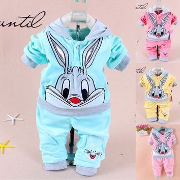 2015 Spring/Autumn baby set cartoon rabbit velvet set twinset long sleeve set hoodie and pant children clothing = 1932708164