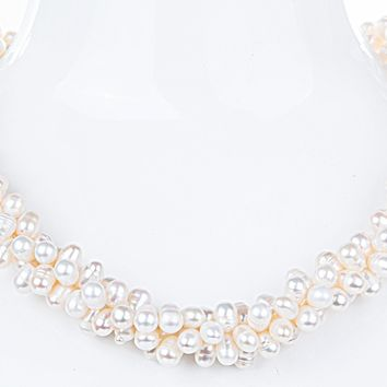 Triple Strand Twisted White Freshwater Pearl Necklace