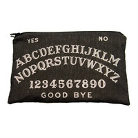 Ouija Board Makeup Bag / Pencil Pouch - Charcoal Black with White Letters - Spooky - Vintage Halloween