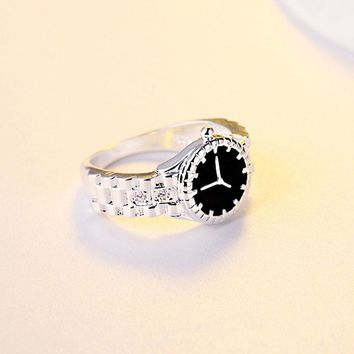 New Fashion Unique Design Watch Shaped Charm Band Ring Silver Color Rings For Women Men Jewelry Gift