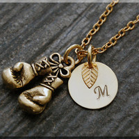 Gold Boxing Gloves Charm Necklace, Initial Charm Necklace, Personalized, Boxing Pendant, Sports Jewelry, Boxing Gloves Monogram Necklace