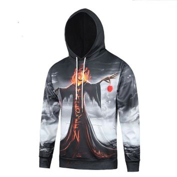 Autumn and winter digital witch 3D printing hooded hedging long-sleeved sweater