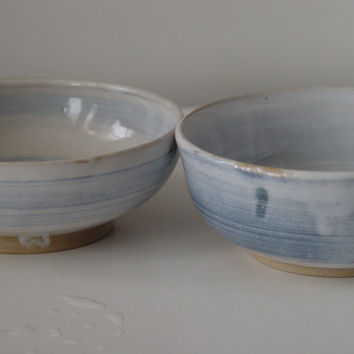 "Pair of Nesting 6 inch bowls, Light Blue ""Blueberries & Cream"", OOAK Hand made wheel thrown ceramic stoneware pottery"