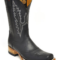 Gavel Handcrafted Men's Crazyhorse Square Toe Stockman Western Boots-Black