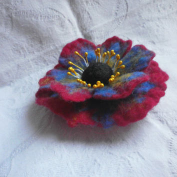 Red Flower Brooch Poppy brooch Blue Yellow Brooch Felt flower pins wool red jewelry red brooch Wet Handmade poppy jewelry Boho gift for Her