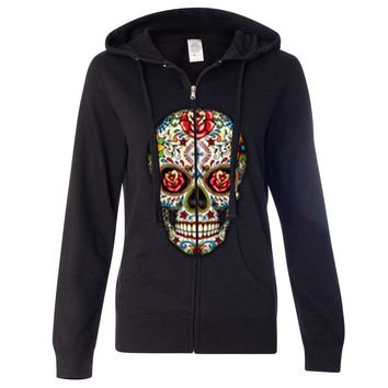 Dia De Los Muertos Sugar Skull Ladies Zip-Up Hoodie