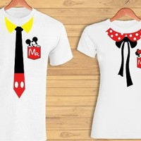 Minnie and Mickey matching t-shirts design vectors SVG EPS PDF instant download serigraphy sublimation vinyl