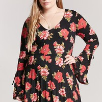 Plus Size Floral Print Mini Skater Dress