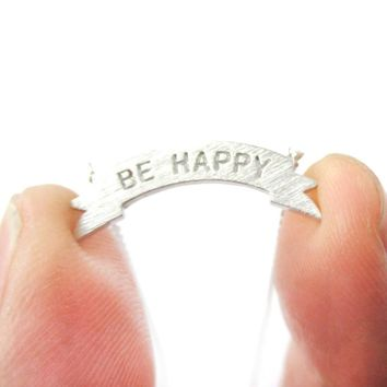 Engraved Be Happy Mini Banner Bar Motivational Charm Necklace in Silver | DOTOLY