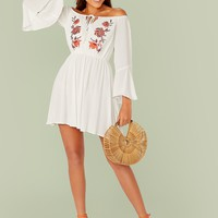 Off Shoulder Tie Neck Embroidery Flounce Sleeve Dress