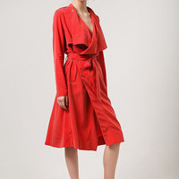 Red Trench Red Wrap Dress Red Trench Coat Red Women Trench Dark Red Outwear Scarlet Dress Coral Dress Coral Trench