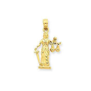 14k Yellow Gold 3D Lady of Justice with Moveable Scales Pendant
