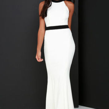 You're My Thrill Black and Ivory Maxi Dress