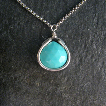 Robins Egg Blue Arizona Turquoise Bezel Wrap Layering Necklace - Sterling Silver - Delicate Rolo Chain - Pendant Necklace