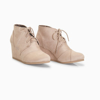 Faux Suede Low Wedge Lace-Up Bootie | Wet Seal