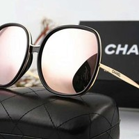 Chanel Stylish Ladies Personality  Logo Letter Summer Sun Shades Eyeglasses Glasses Sunglasses(6-Color) Pink I-A-SDYJ