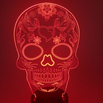 7 Colors Change 3D Visual Skull Pattern Shape Led Desk Lamp