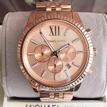 DCK4S2 Michael Kors Lexington Chronograph Rose Dial Rose Gold-plated Mens Watch MK8319