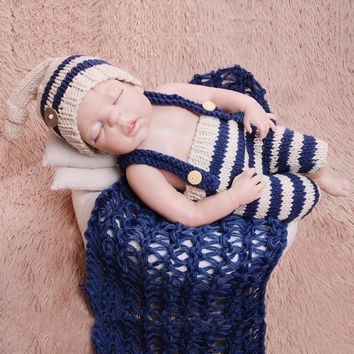 Newborn Baby Photography Props Infant Knit Crochet Costume Striped Soft Outfits Elf Beanie Hat+Bib Pants Sets Baby Shower Gift