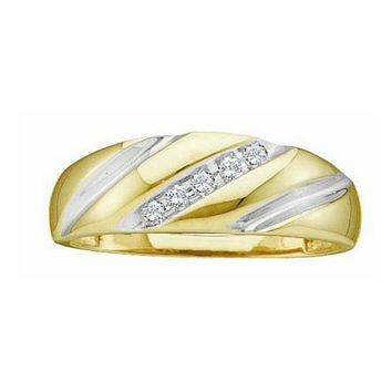 14kt Yellow Gold Mens Round Diamond Two-tone Single Row Wedding Band Ring 1/10 Cttw
