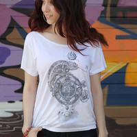 White Loose style woman tshirt top blouse - Vintage Steampunk style Chameleon design